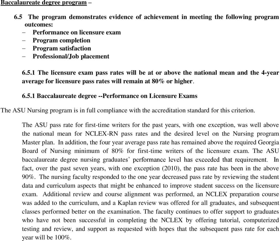 6.5.1 Baccalaureate degree --Performance on Licensure Exams The ASU Nursing program is in full compliance with the accreditation standard for this criterion.