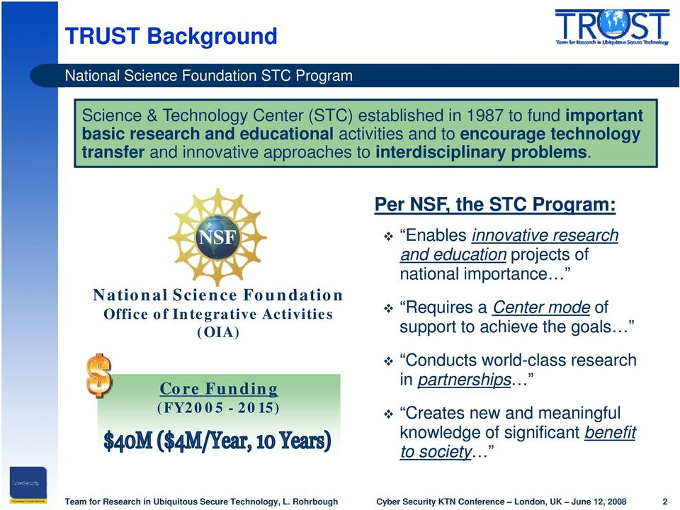 National Science Foundation Office of Integrative Activities (OIA) Core Funding (FY2005-2015) Per NSF, the STC Program: Enables innovative research and