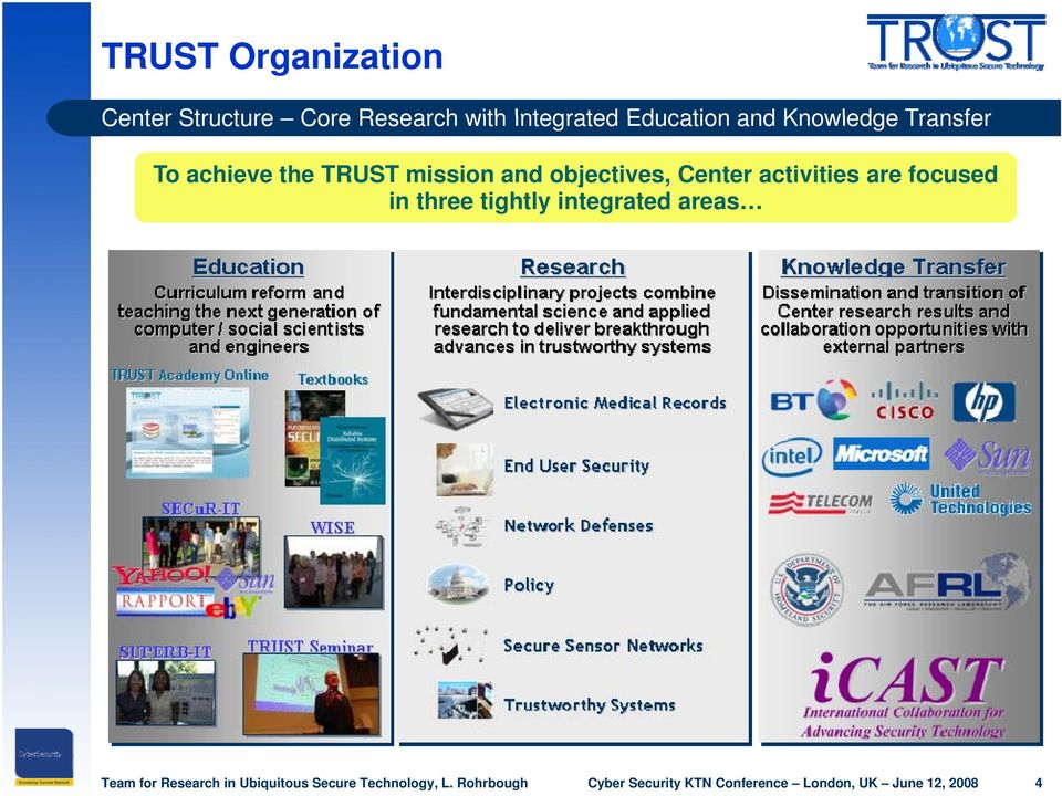 achieve the TRUST mission and objectives, Center