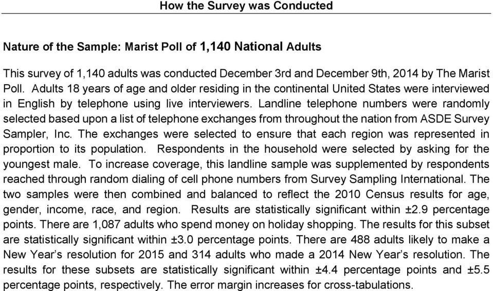 Landline telephone numbers were randomly selected based upon a list of telephone exchanges from throughout the nation from ASDE Survey Sampler, Inc.