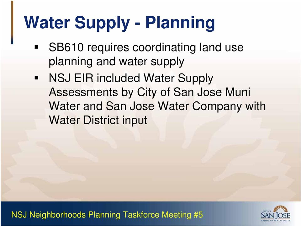 Water Supply Assessments by City of San Jose Muni