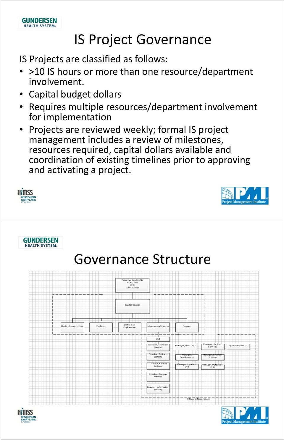 Capital budget dollars Requires multiple resources/department involvement for implementation Projects are reviewed