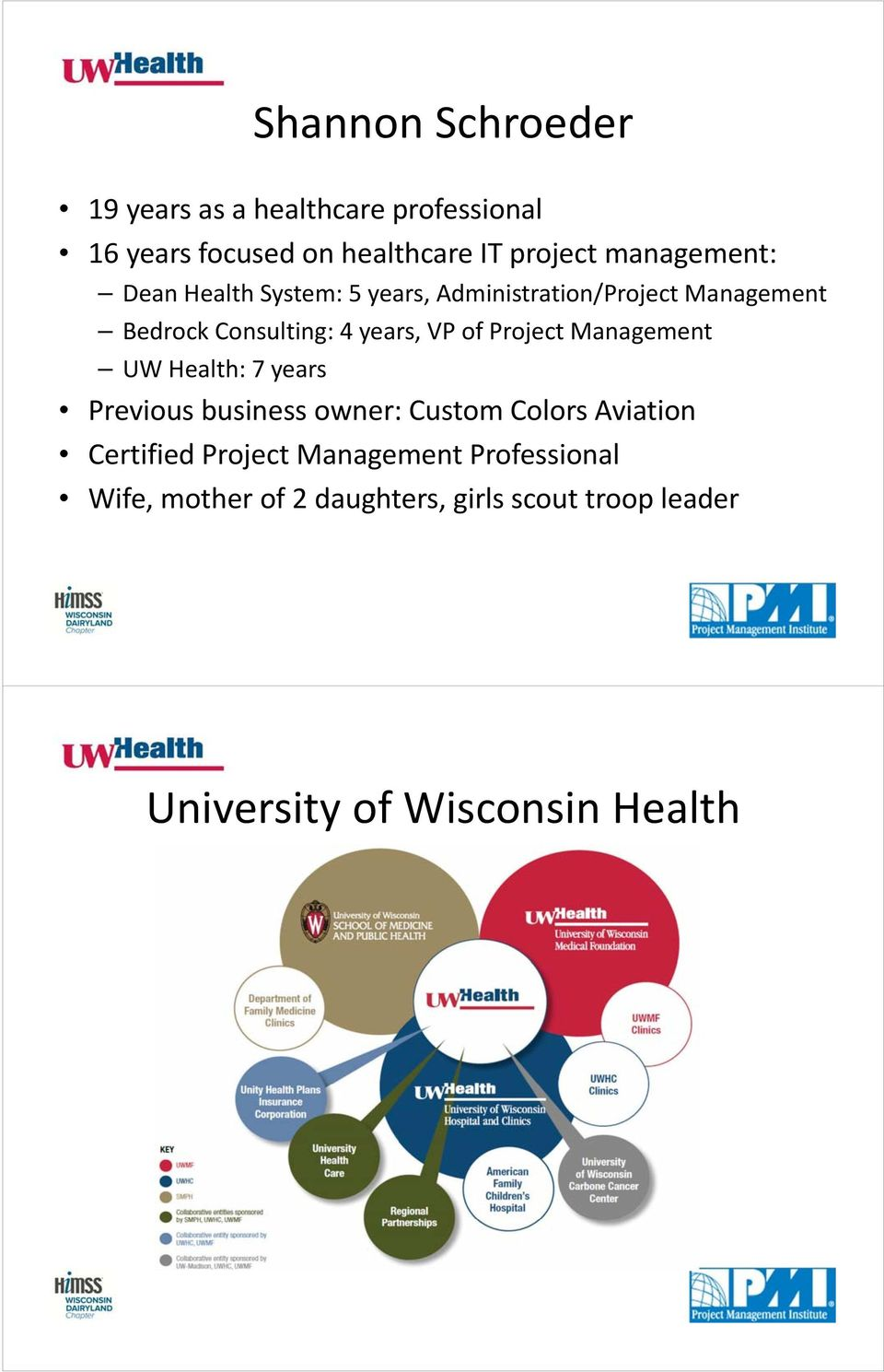 VP of Project Management UW Health: 7 years Previous business owner: Custom Colors Aviation Certified