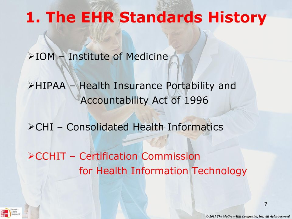 Act of 1996 CHI Consolidated Health Informatics CCHIT