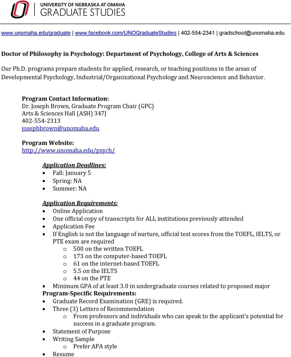 partment of Psychology, College of Arts & Sciences Our Ph.D.