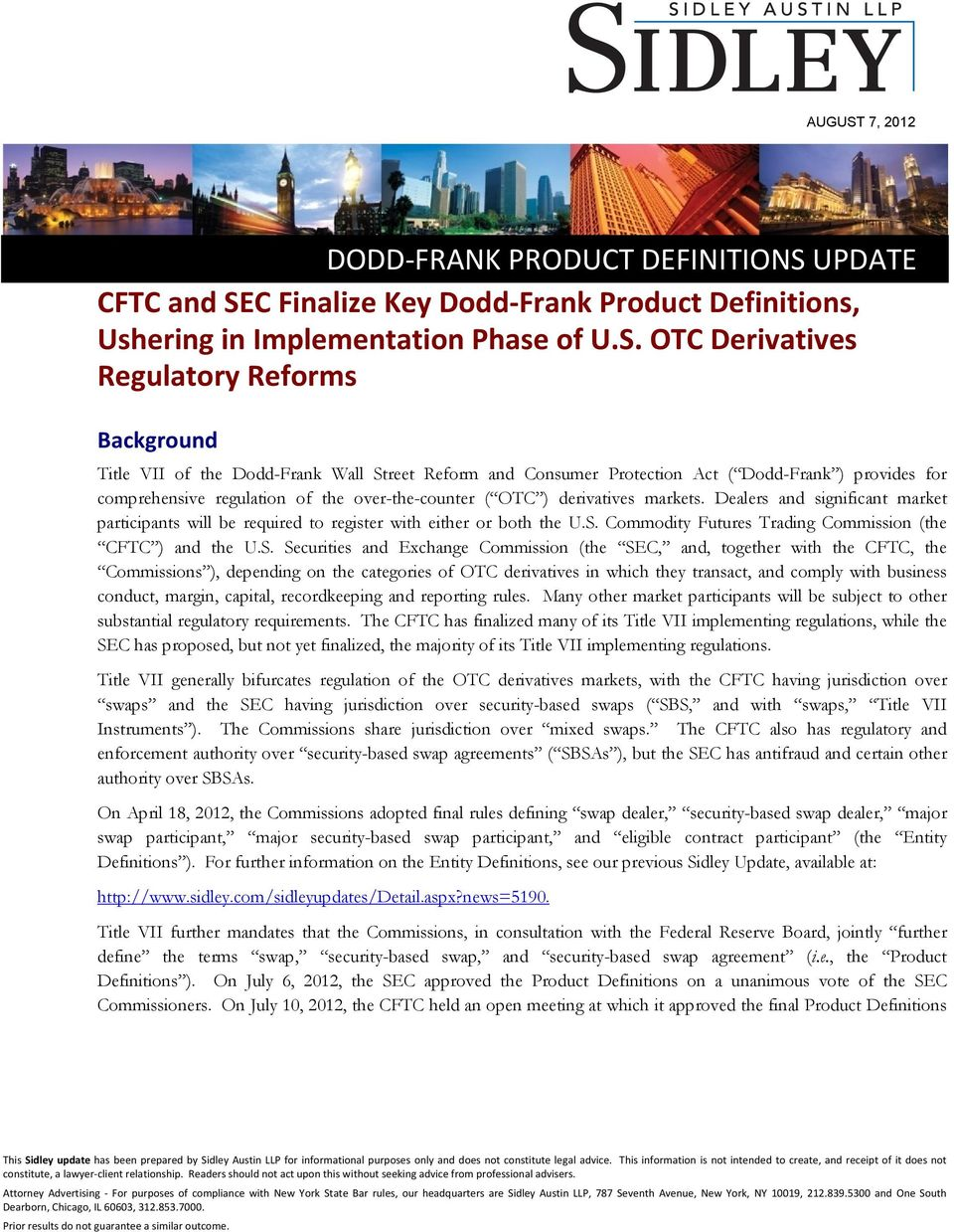 UPDATE CFTC and SE