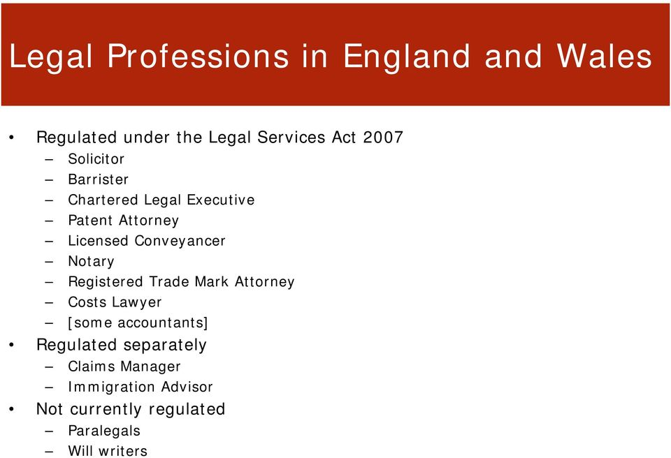 Notary Registered Trade Mark Attorney Costs Lawyer [some accountants] Regulated