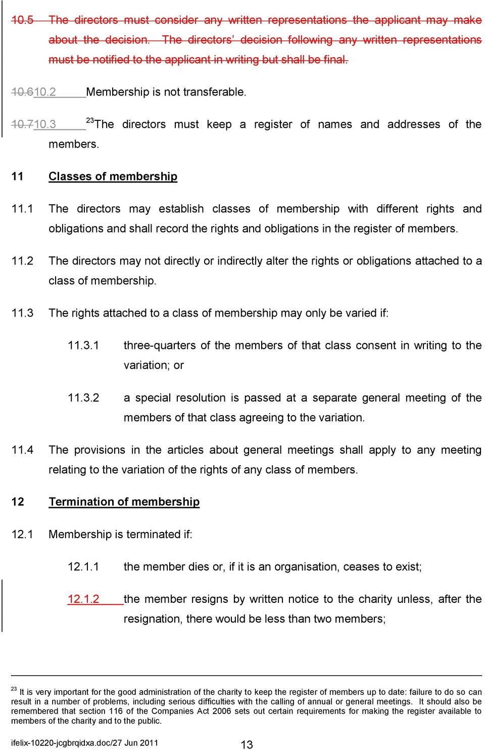 3 23 The directors must keep a register of names and addresses of the members. 11 Classes of membership 11.