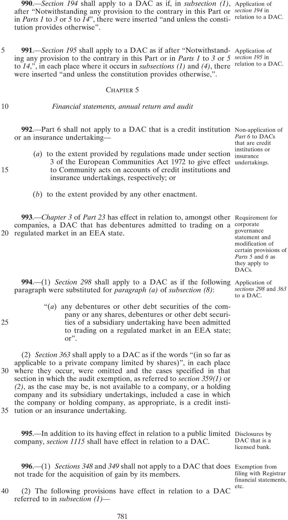 Section 195 shall apply to a DAC as if after Notwithstand- Application of ing any provision to the contrary in this Part or in Parts 1 to 3 or 5 section 195 in to 14,, in each place where it occurs