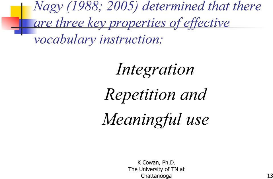 vocabulary instruction: Integration
