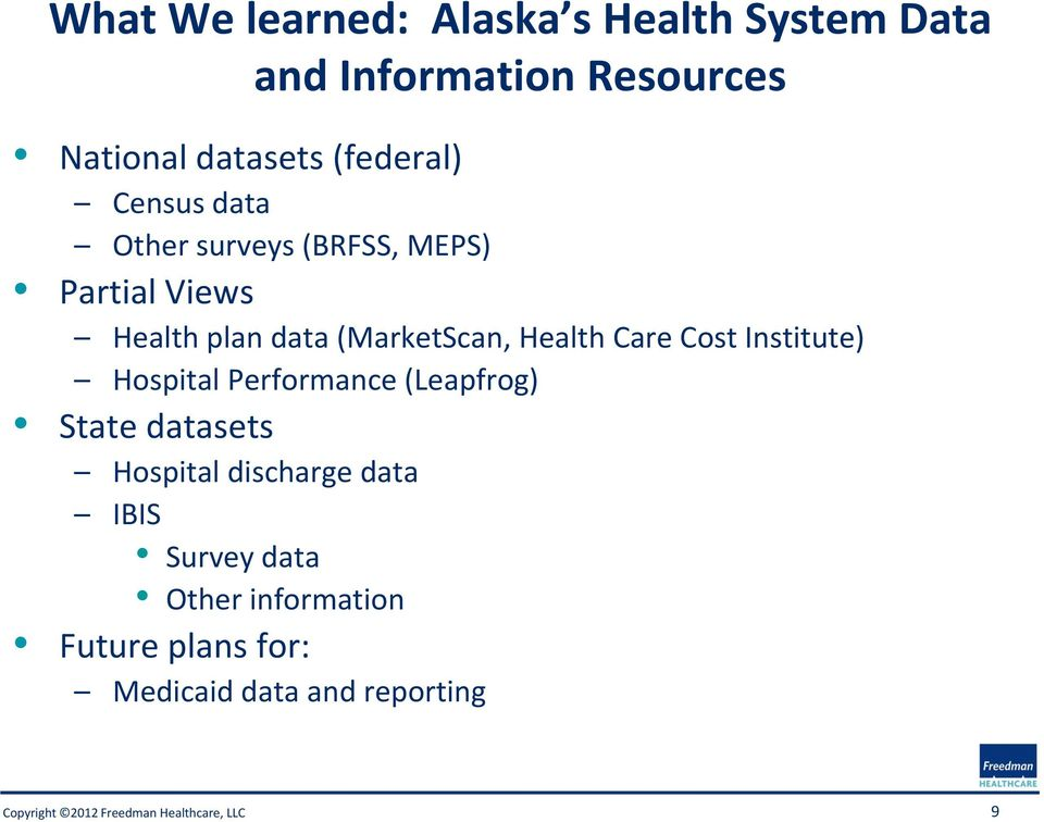 (MarketScan, Health Care Cost Institute) Hospital Performance (Leapfrog) State datasets