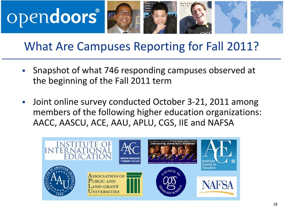 Fall 2011 term Joint online survey conducted October 3 21, 2011 among