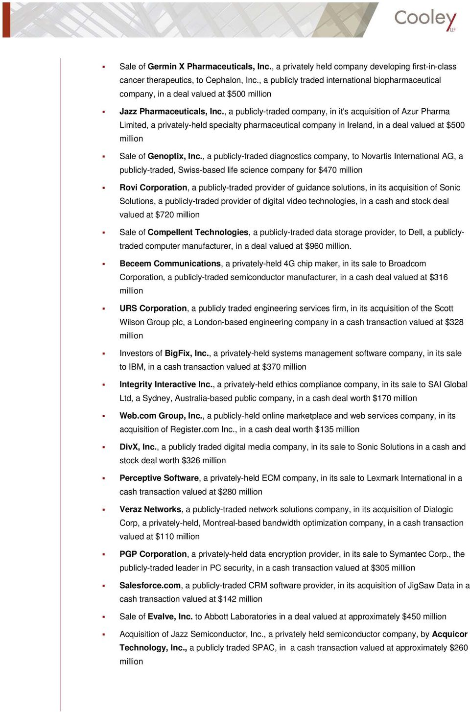 SIGNIFICANT TRANSACTIONS VALUED AT MORE THAN $1 BILLION - PDF