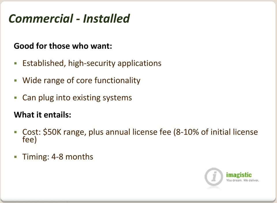 into existing systems What it entails: Cost: $50K range, plus