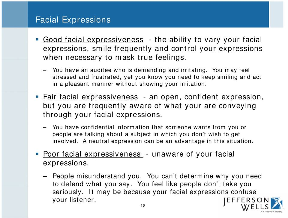 Fair facial expressiveness - an open, confident expression, but you are frequently aware of what your are conveying through your facial expressions.