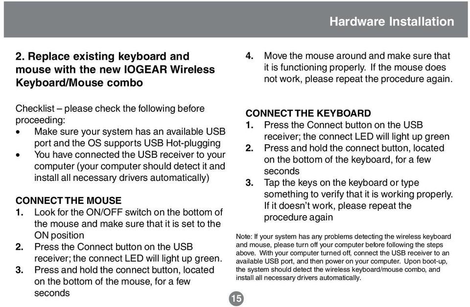 Checklist please check the following before proceeding: Make sure your system has an available USB port and the OS supports USB Hot-plugging You have connected the USB receiver to your computer (your