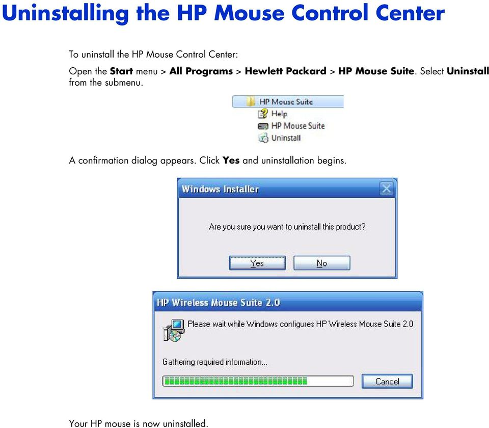 HP Mouse Suite. Select Uninstall from the submenu.