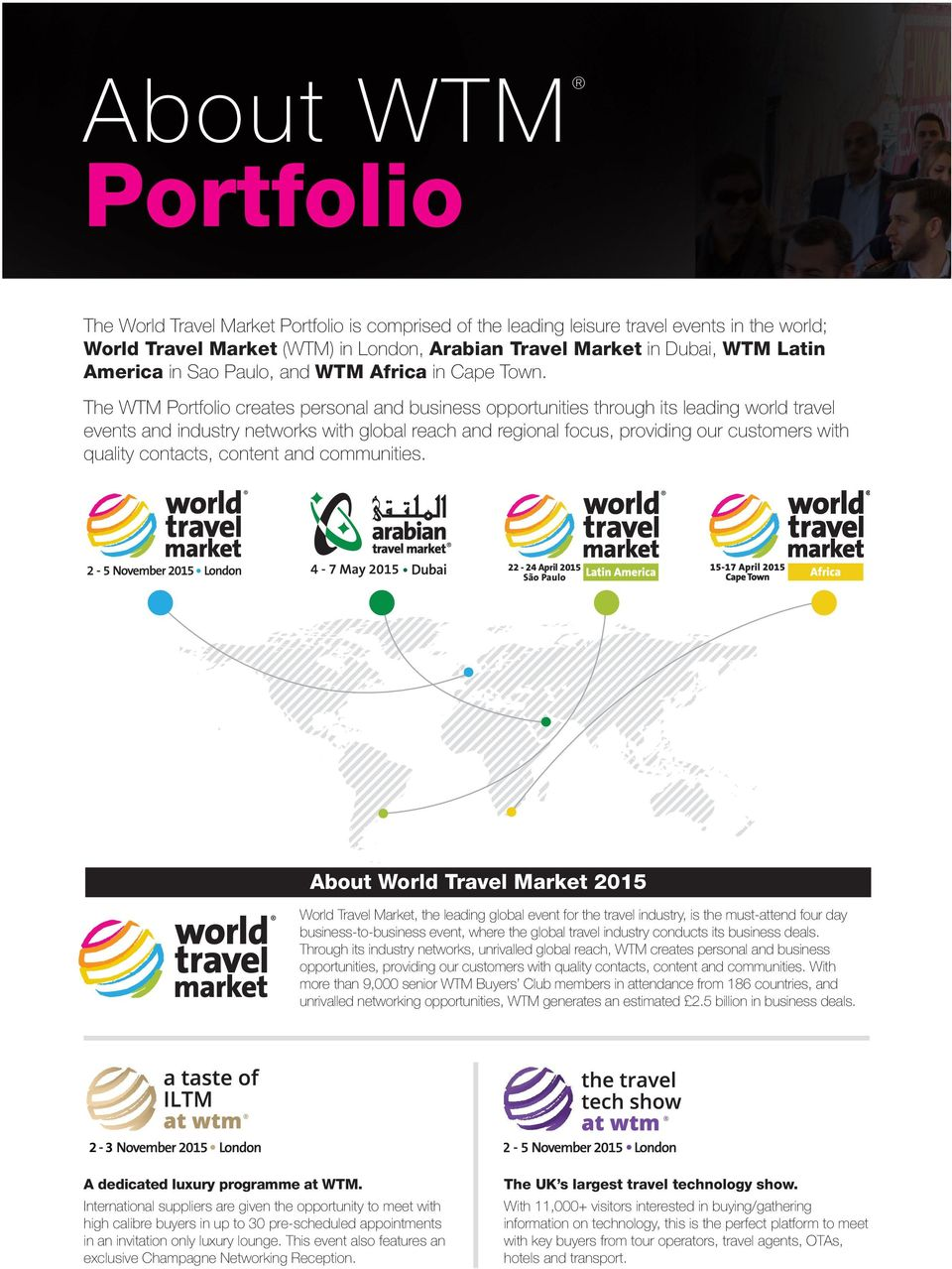 The WTM Portfolio creates personal and business opportunities through its leading world travel events and industry networks with global reach and regional focus, providing our customers with quality