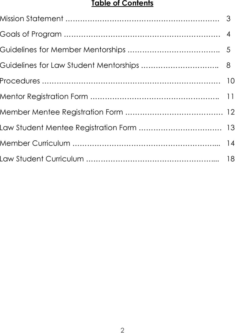 . 8 Procedures. 10 Mentor Registration Form.
