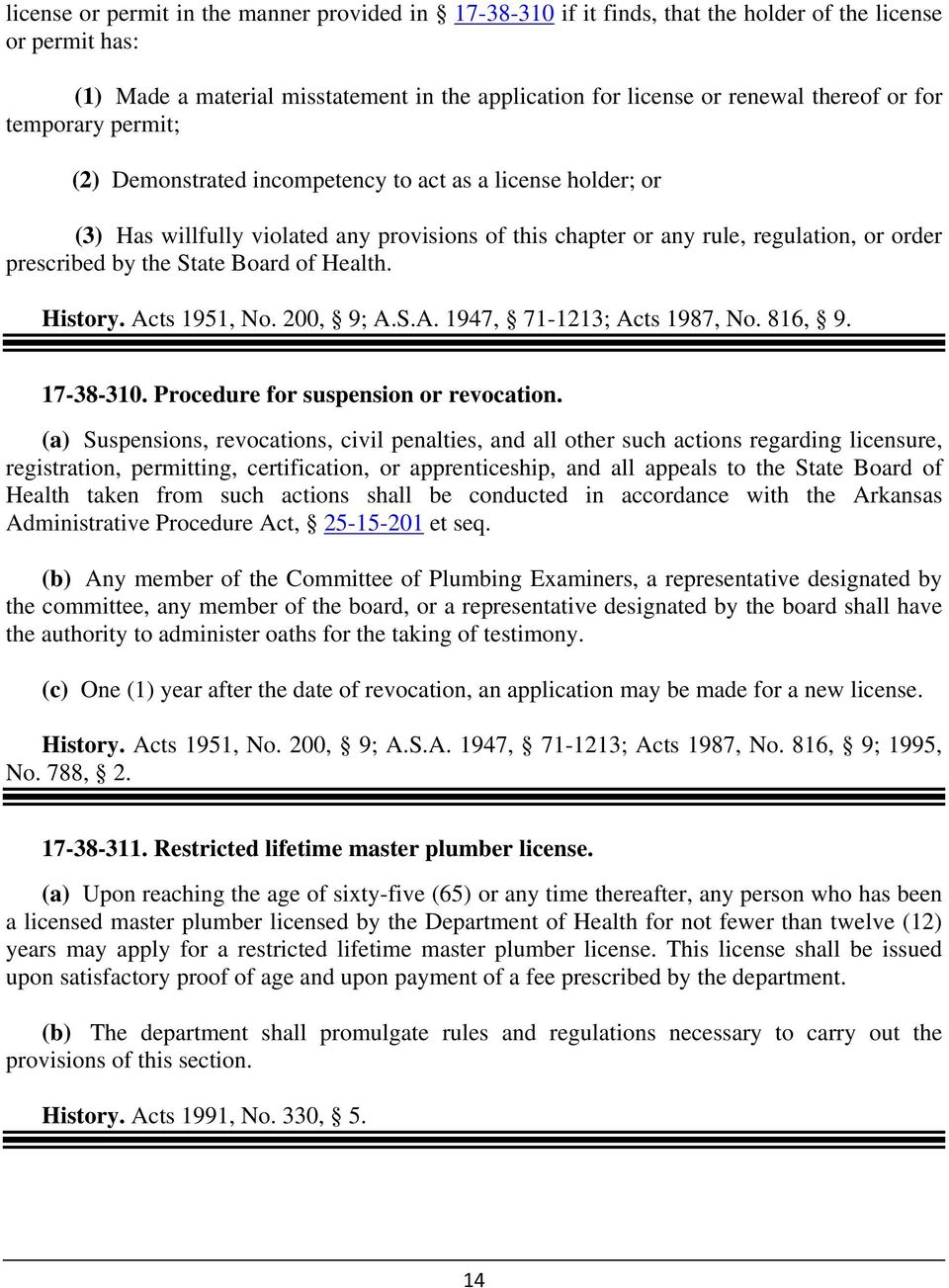 Board of Health. History. Acts 1951, No. 200, 9; A.S.A. 1947, 71-1213; Acts 1987, No. 816, 9. 17-38-310. Procedure for suspension or revocation.