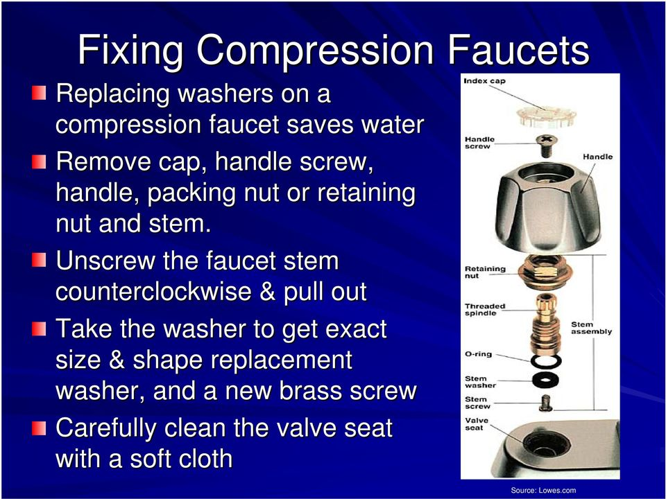 Unscrew the faucet stem counterclockwise & pull out Take the washer to get exact size &