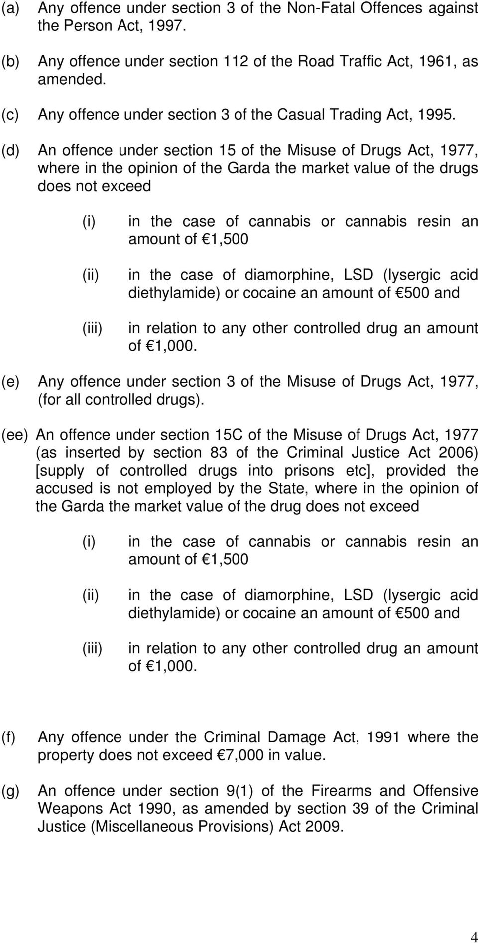 (d) An offence under section 15 of the Misuse of Drugs Act, 1977, where in the opinion of the Garda the market value of the drugs does not exceed (ii) (iii) in the case of cannabis or cannabis resin