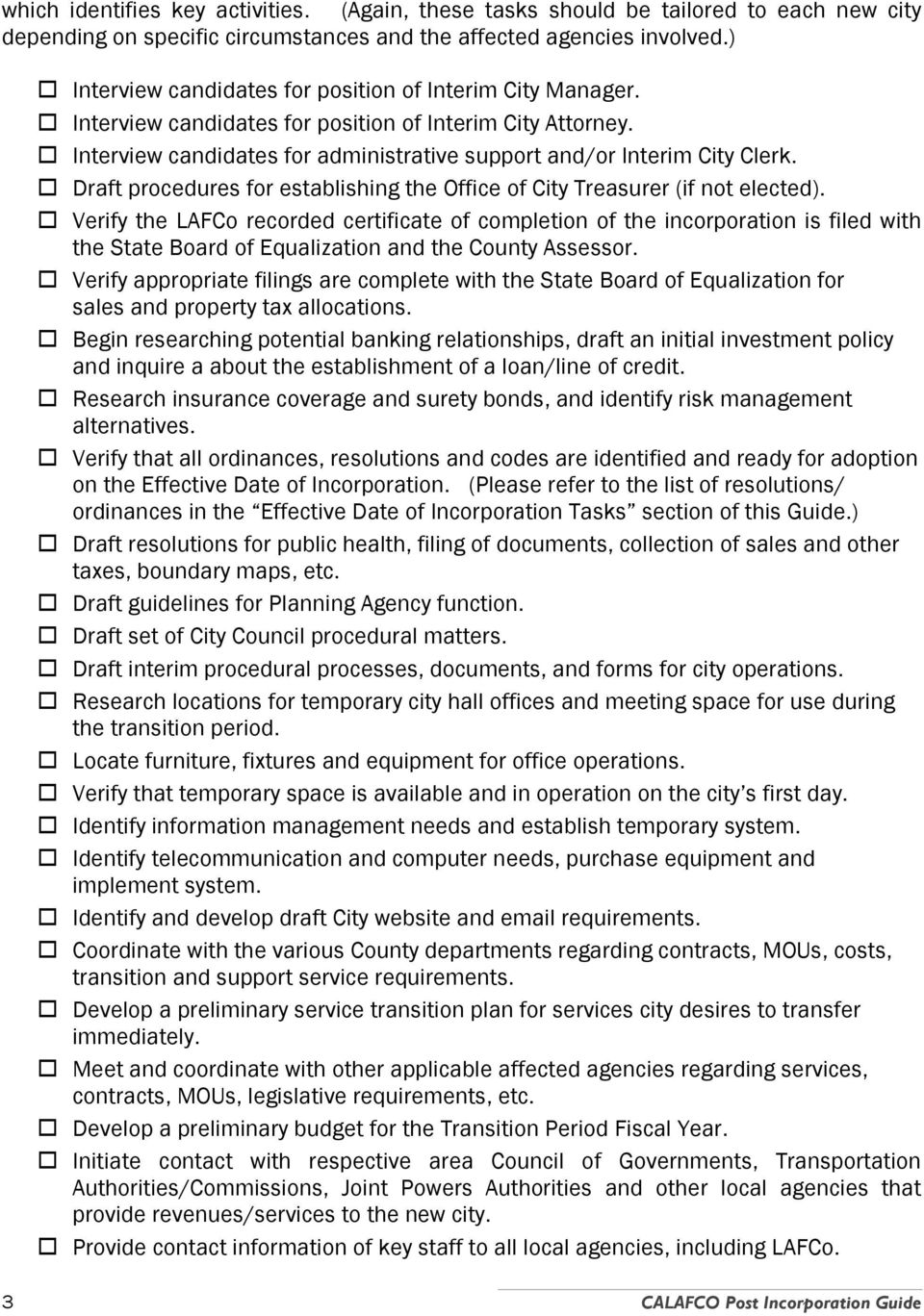 Draft procedures for establishing the Office of City Treasurer (if not elected).