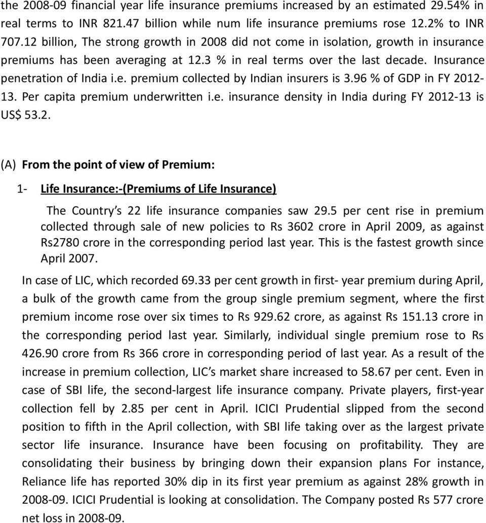 96 % of GDP in FY 2012-13. Per capita premium underwritten i.e. insurance density in India during FY 2012-13 is US$ 53.2. (A) From the point of view of Premium: 1- Life Insurance:-(Premiums of Life Insurance) The Country s 22 life insurance companies saw 29.