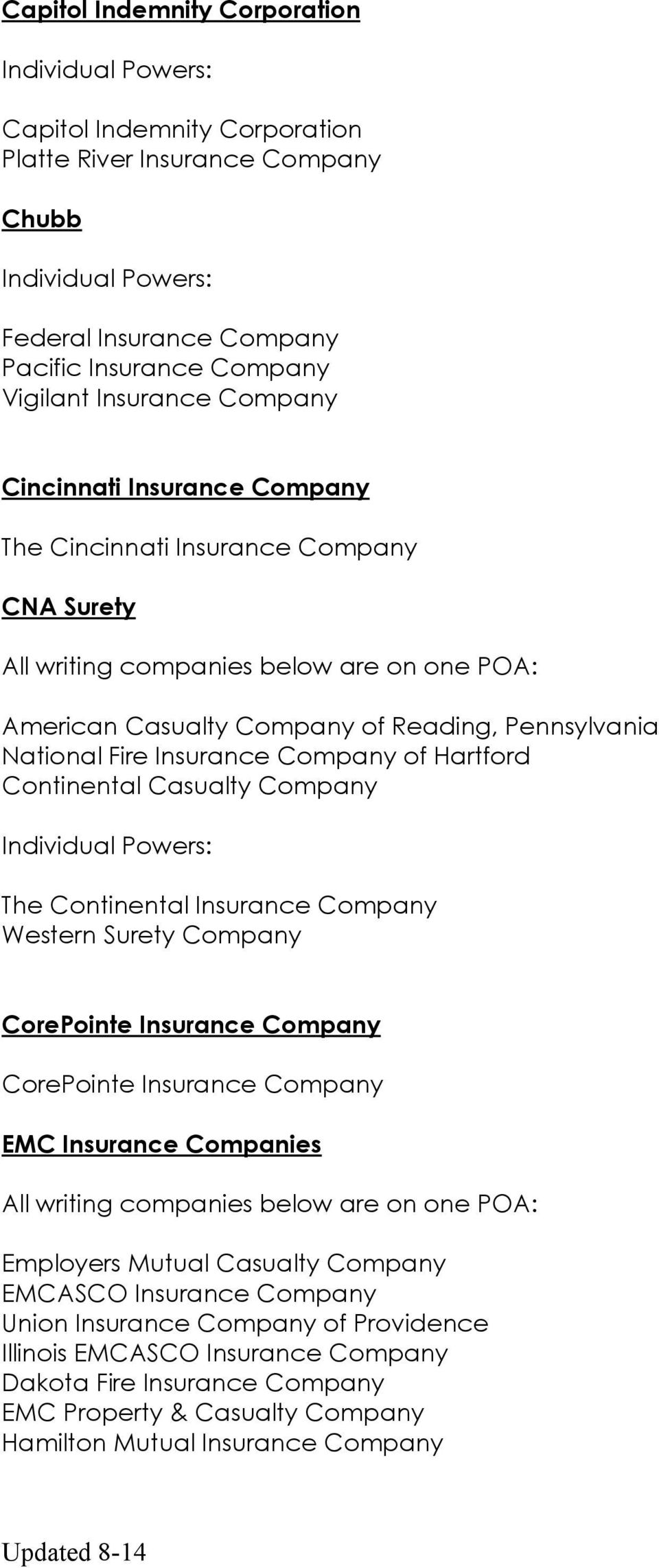 Casualty Company The Continental Insurance Company Western Surety Company CorePointe Insurance Company CorePointe Insurance Company EMC Insurance Companies Employers Mutual Casualty