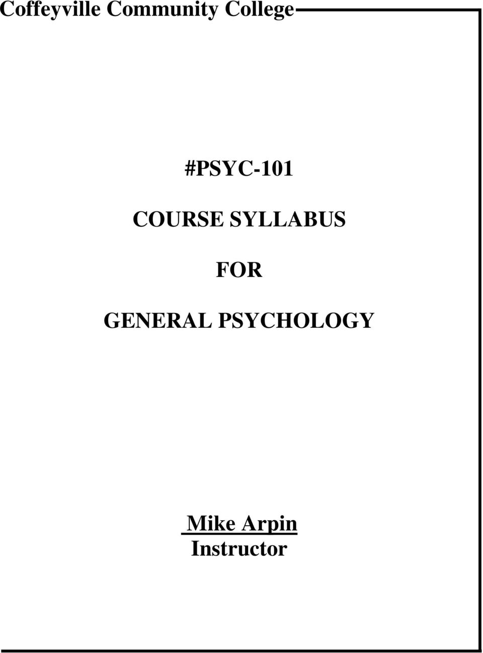 SYLLABUS FOR GENERAL