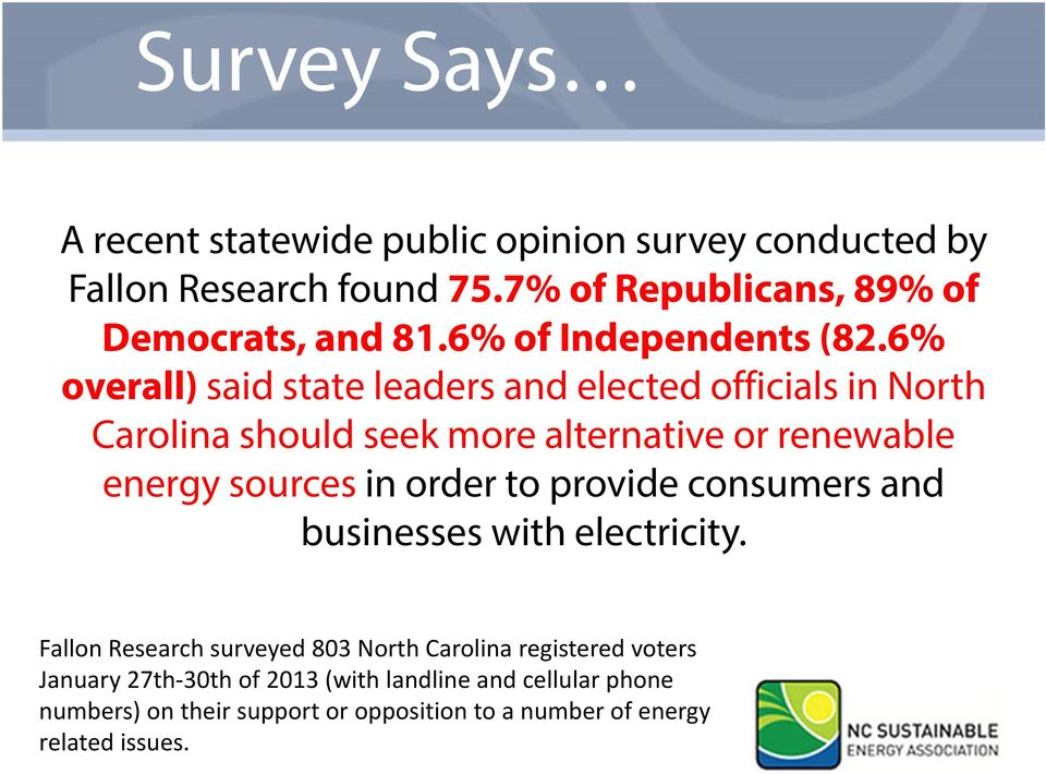 6% overall) said state leaders and elected officials in North Carolina should seek more alternative or renewable energy sources in order