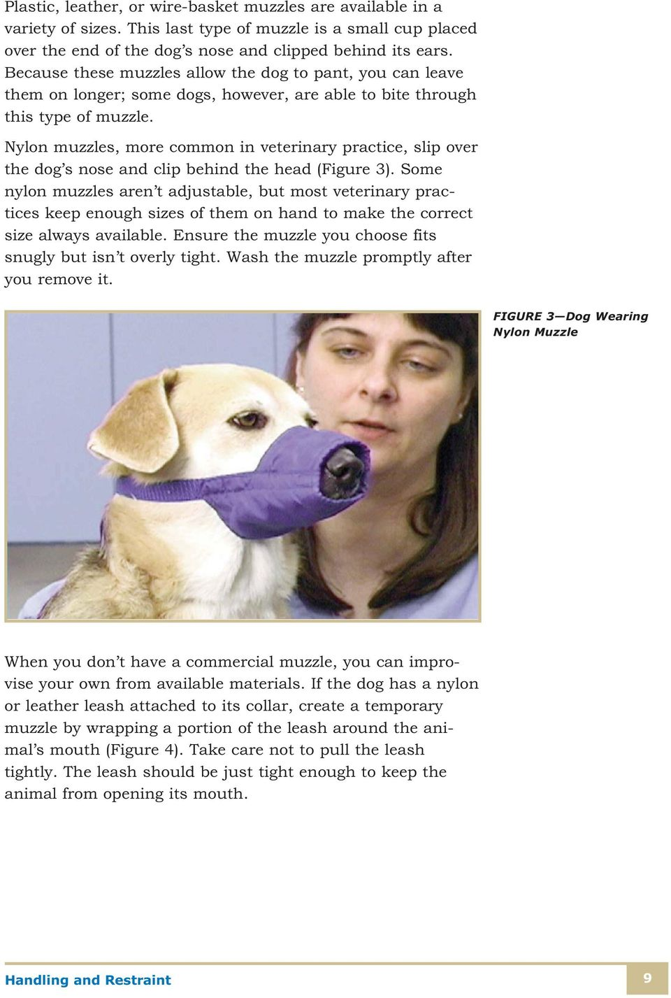 Nylon muzzles, more common in veterinary practice, slip over the dog s nose and clip behind the head (Figure 3).