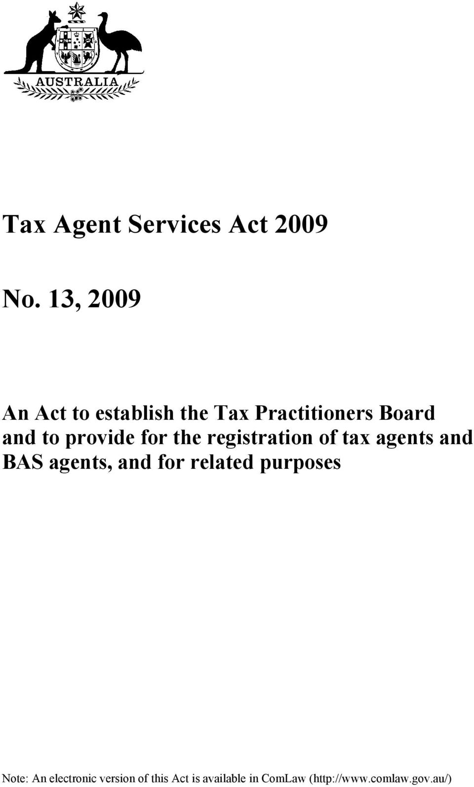 provide for the registration of tax agents and BAS agents, and for