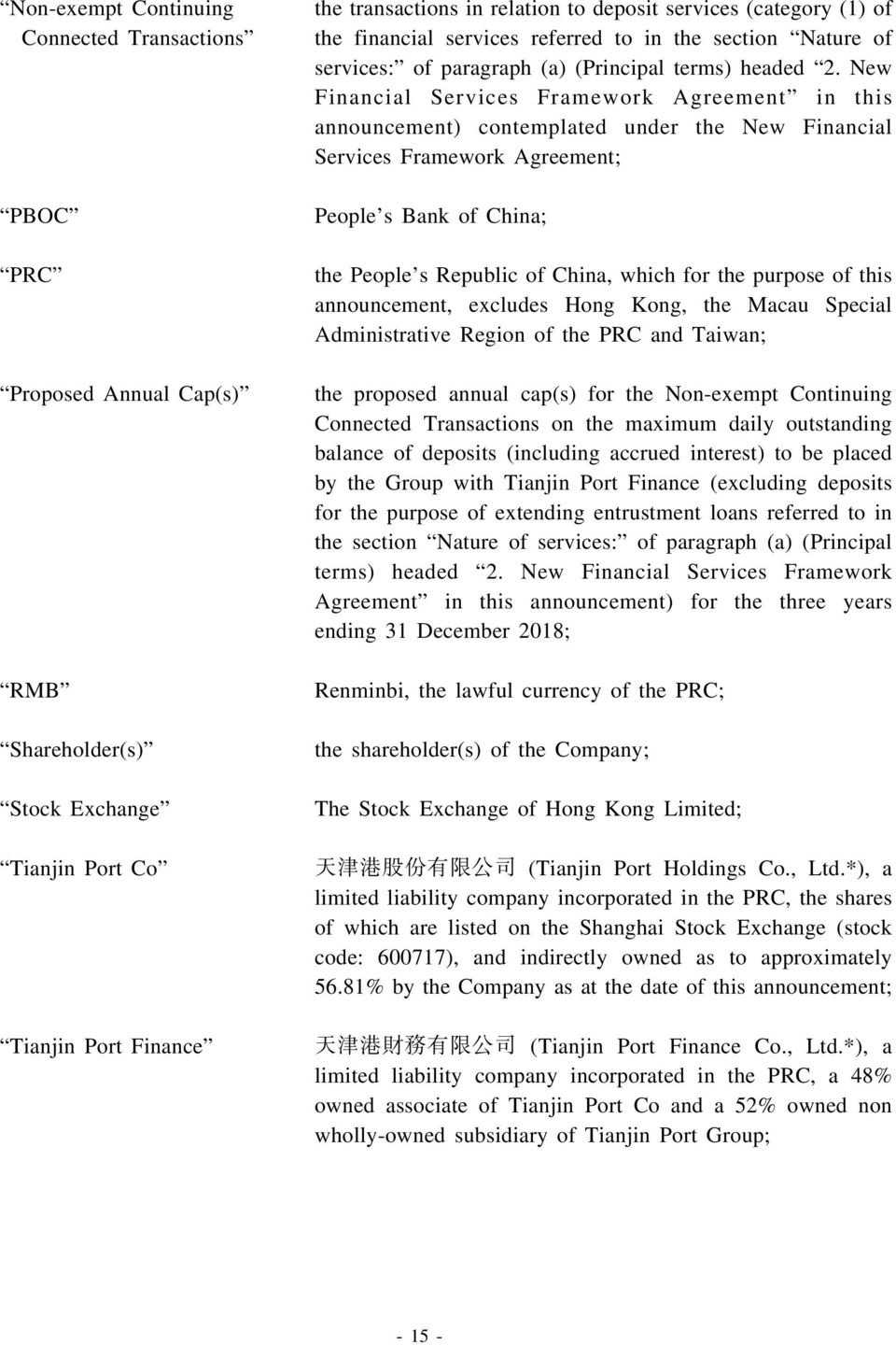New Financial Services Framework Agreement in this announcement) contemplated under the New Financial Services Framework Agreement; People s Bank of China; the People s Republic of China, which for