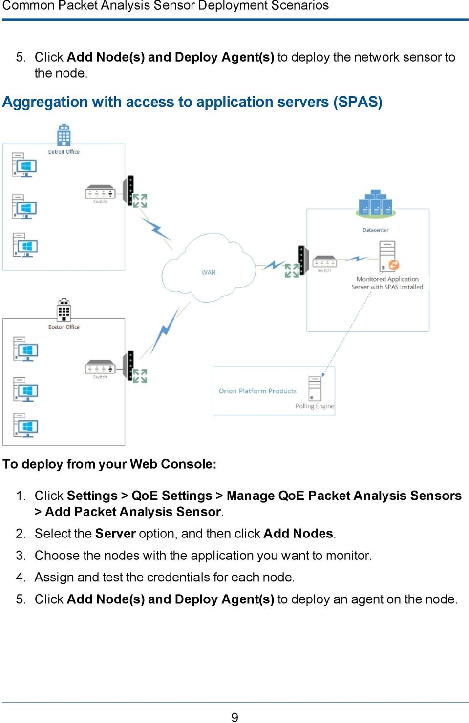 Click Settings > QoE Settings > Manage QoE Packet Analysis Sensors > Add Packet Analysis Sensor. 2.