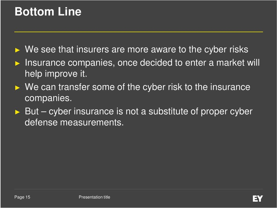 We can transfer some of the cyber risk to the insurance companies.