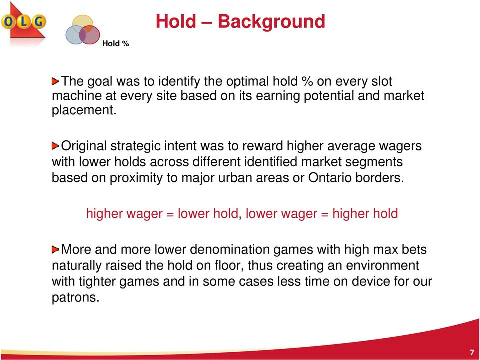 Original strategic intent was to reward higher average wagers with lower holds across different identified market segments based on proximity to
