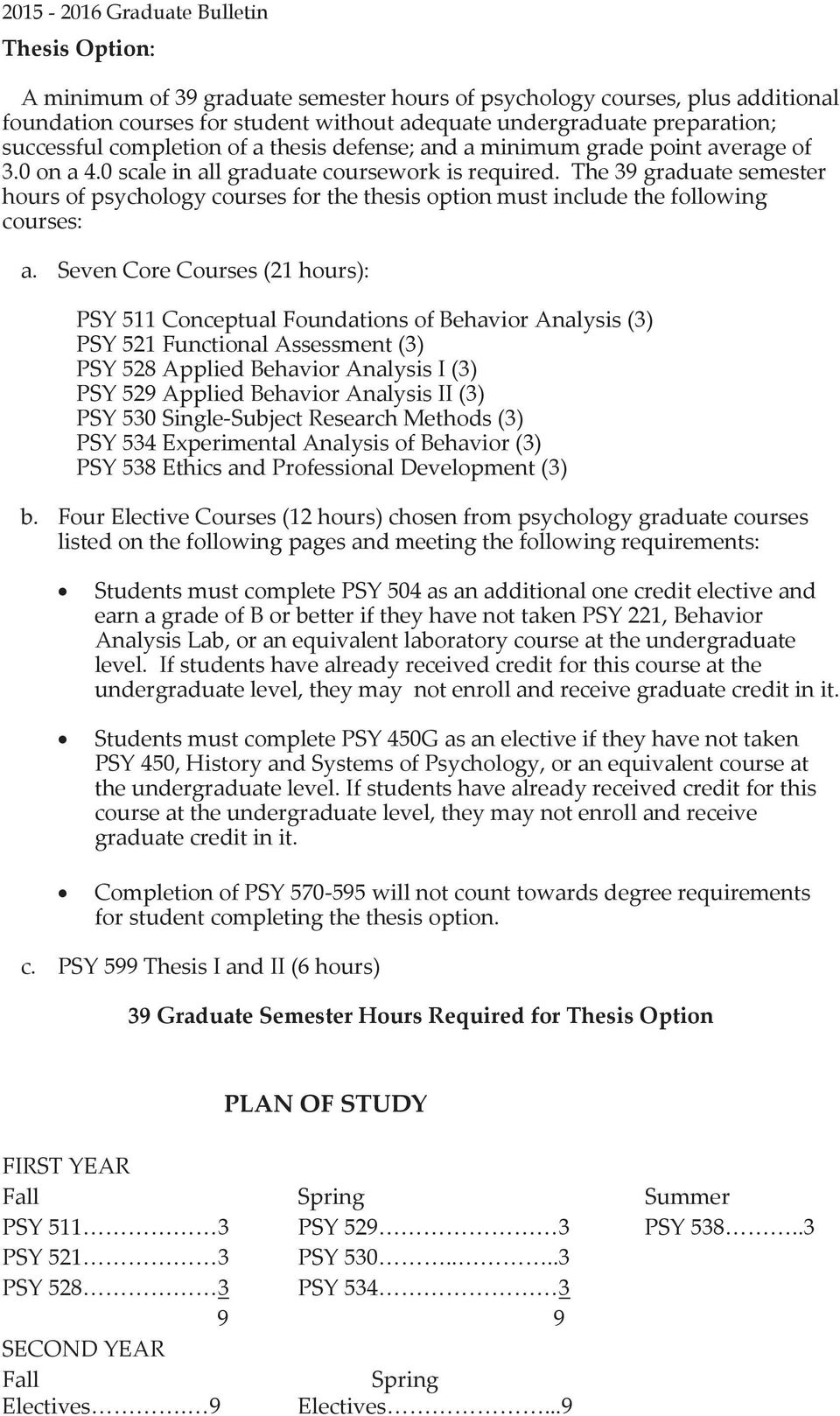 The 39 graduate semester hours of psychology courses for the thesis option must include the following courses: a.