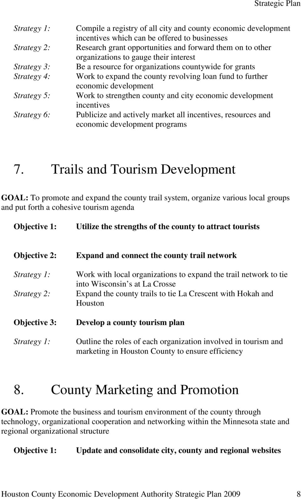 strengthen county and city economic development incentives Publicize and actively market all incentives, resources and economic development programs 7.