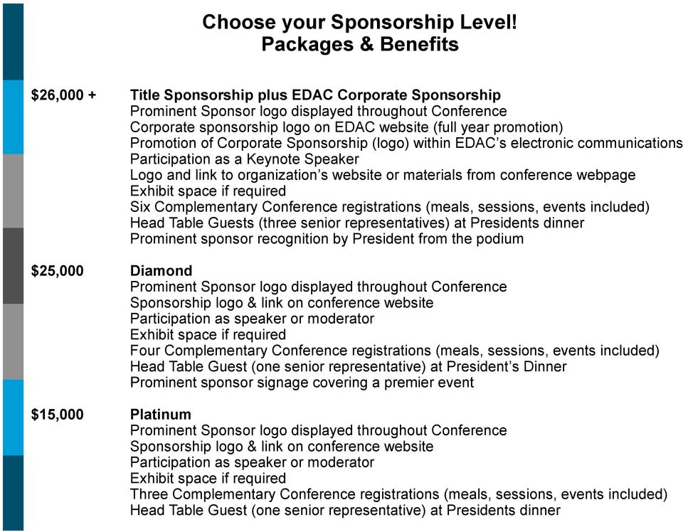 Promotion of Corporate Sponsorship (logo) within EDAC s electronic communications Participation as a Keynote Speaker Logo and link to organization s website or materials from conference webpage Six