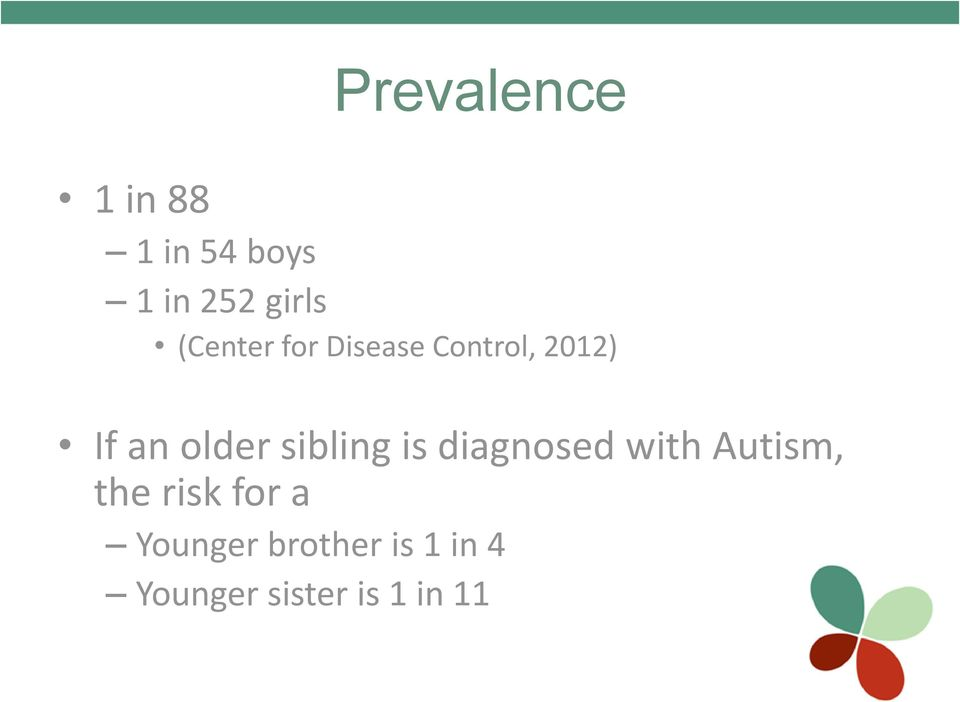 sibling is diagnosed with Autism, the risk for a