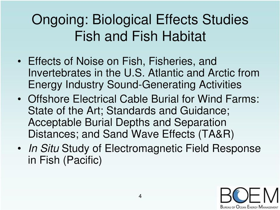 Atlantic and Arctic from Energy Industry Sound-Generating Activities Offshore Electrical Cable Burial for