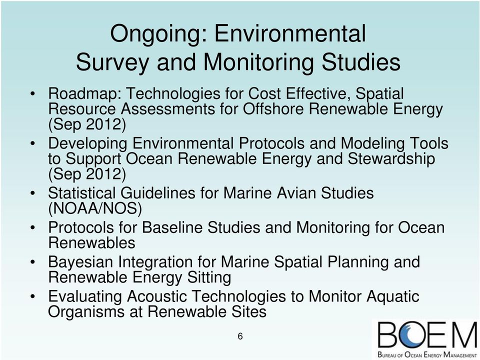 2012) Statistical Guidelines for Marine Avian Studies (NOAA/NOS) Protocols for Baseline Studies and Monitoring for Ocean Renewables Bayesian