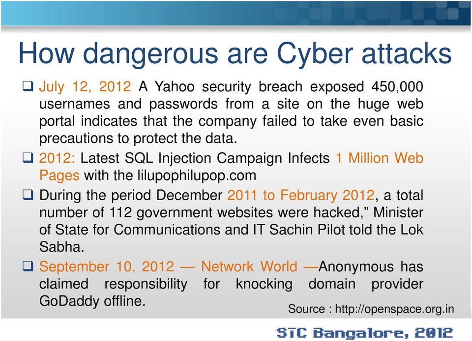 com During the period December 2011 to February 2012, a total number of 112 government websites were hacked, Minister of State for Communications and IT Sachin