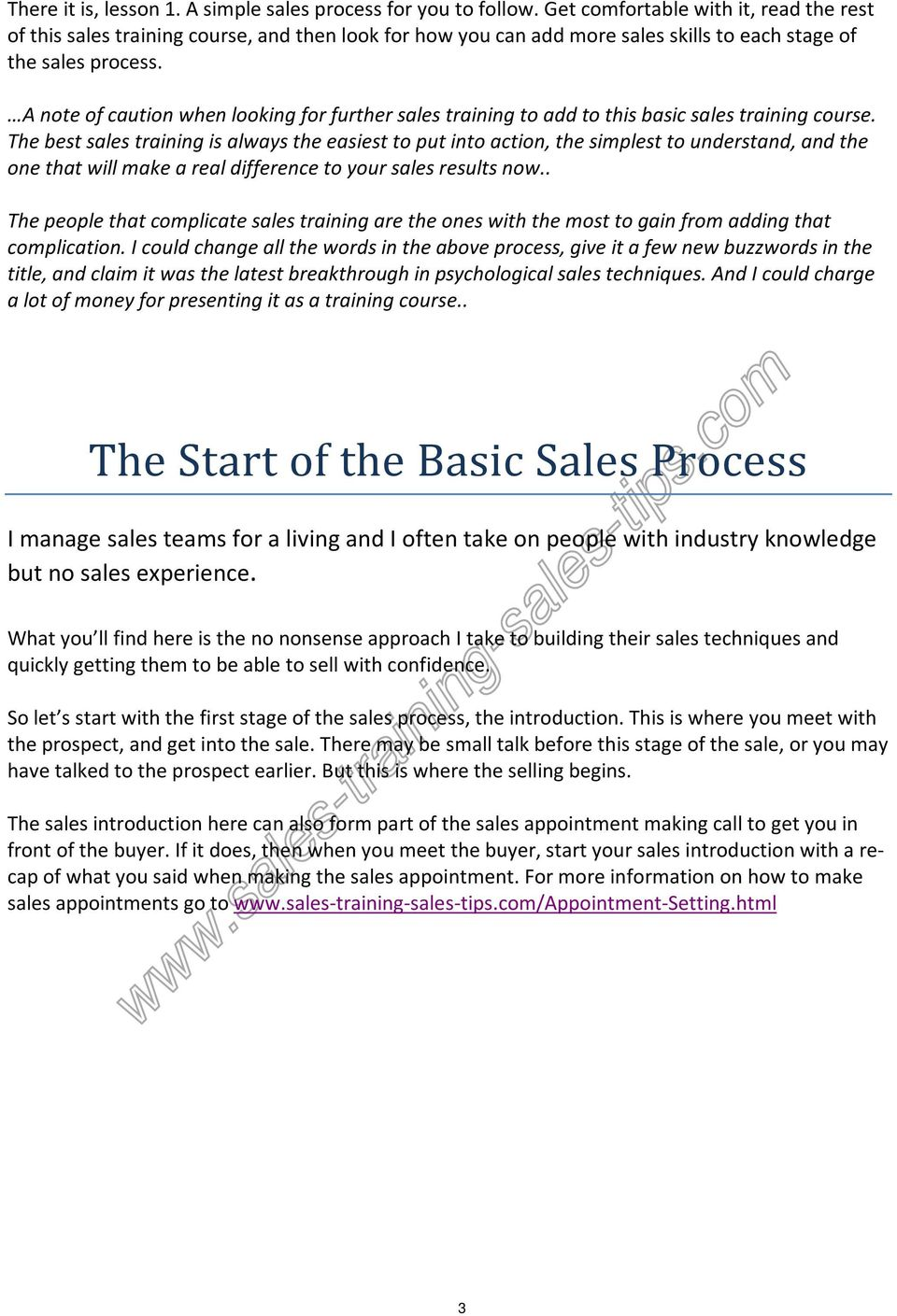 A note of caution when looking for further sales training to add to this basic sales training course.