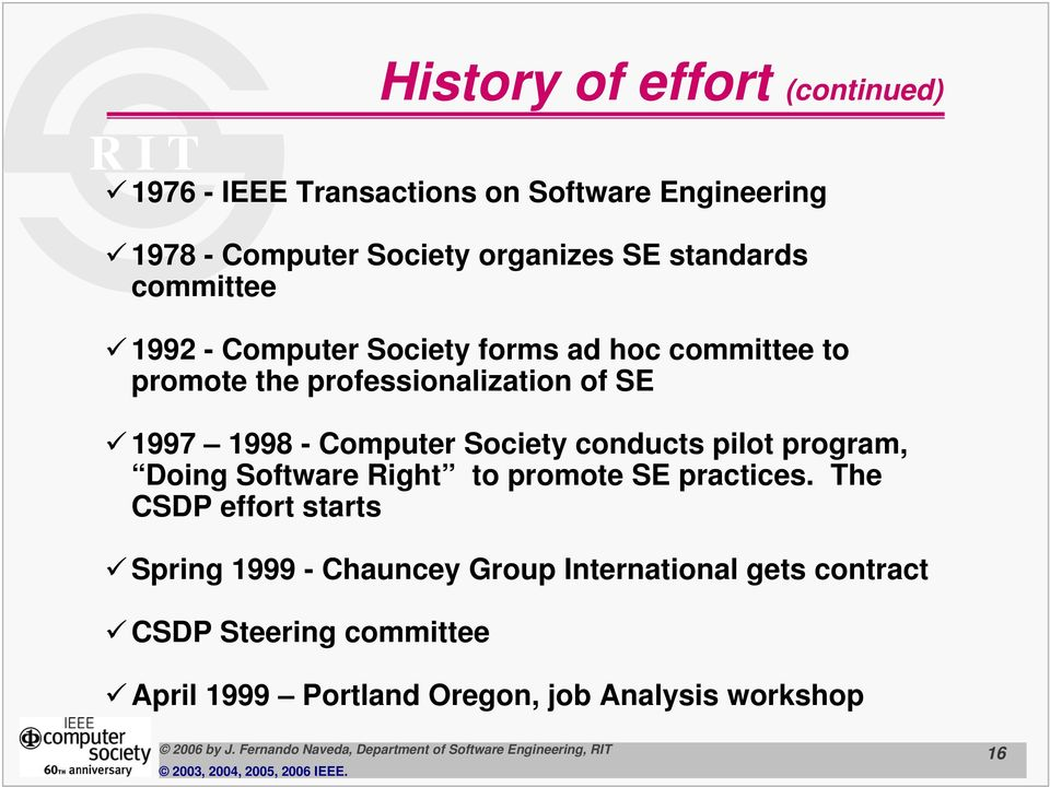 Computer Society conducts pilot program, Doing Software Right to promote SE practices.