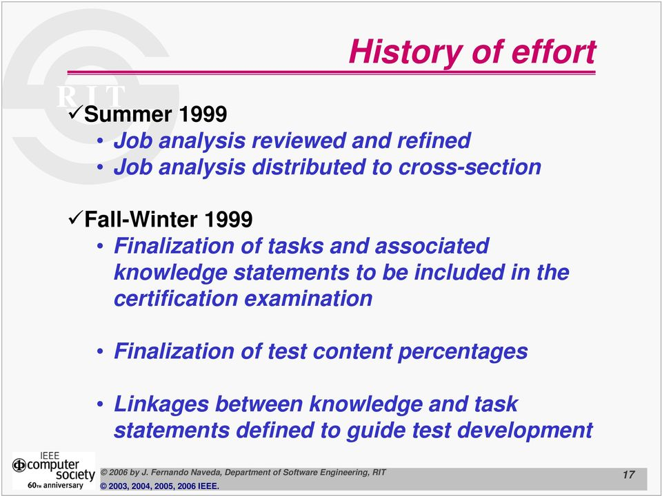 statements to be included in the certification examination Finalization of test content