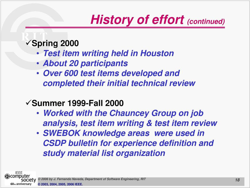Worked with the Chauncey Group on job analysis, test item writing & test item review SWEBOK