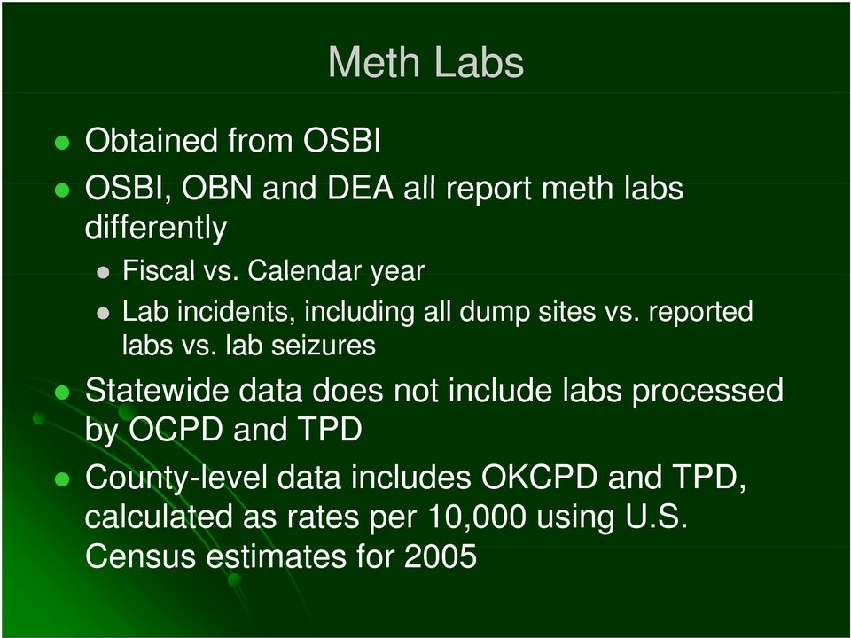 lab seizures Statewide data does not include labs processed by OCPD and TPD County-level