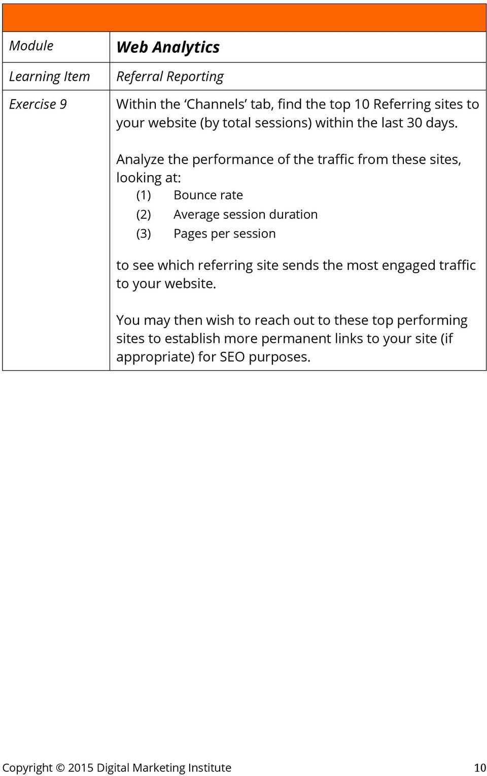 Analyze the performance of the traffic from these sites, looking at: (1) Bounce rate (2) Average session duration (3) Pages per session